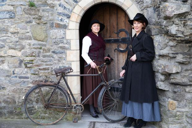 Helena Bergin (right) and Janette Scott in period costume during a celebration of the female cyclists who performed a crucial role in County Dublin during the Rising. Conor Healy
