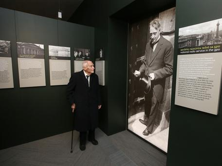 Former Taoiseach, Liam Cosgrove looks at a picture of his father, WT Cosgrove at the opening of the new GPO Witness history Centre. Photo: Damien Eagers