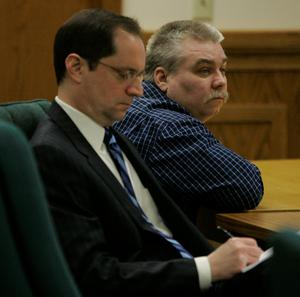 Trial: Lawyer Jerome Buting and murder accused Avery, right, listen to closing arguments in court in 2007