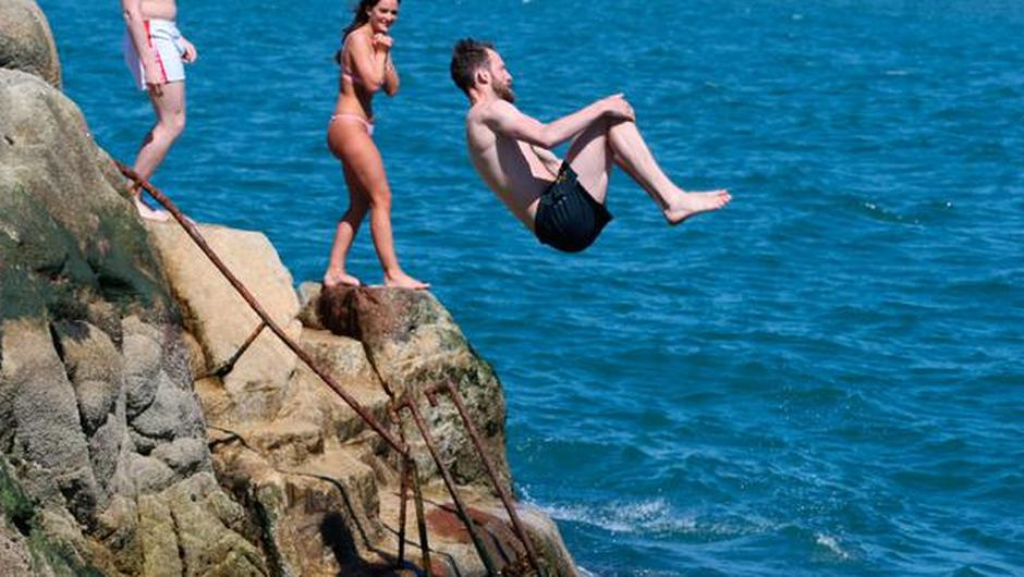 Swimmers at Dublin's Forty Foot. Picture: Collins