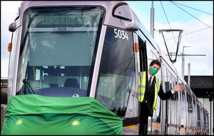 Setting out: Transport Minister Eamon Ryan at the launch of the public consultation of the Luas and the introduction of the new Luas 55-metre trams at Broombridge depot. Photo: Steve Humphreys
