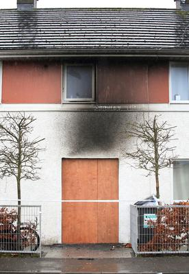 The damaged facade of the family home in Longford