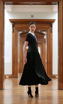Louise Byrne, wears a black pleated crepe dress with detachable collar at €295  pictured at the Hugh Lane Gallery, Dublin this morning for the launch of the Peter O'Brien for Arnotts Autumn Winter 2015 Collection