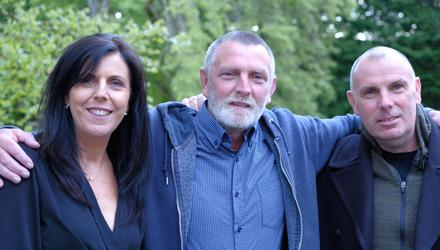 Helen Ward and David McBride with long-lost brother, John (centre)