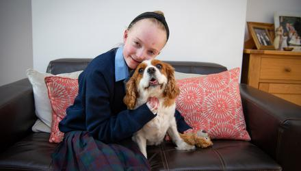 Leading light: Claudia Scanlon (16) with her dog Bailey. Photo: Suzanne Collins