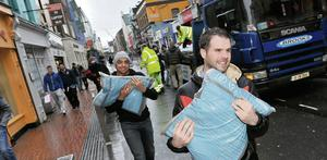 Distribution of sand bags in Cork city