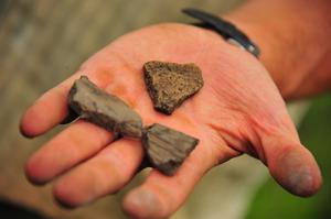 Pottery fragments discovered at Drumhold dating from the Norman settlement at Drumholm