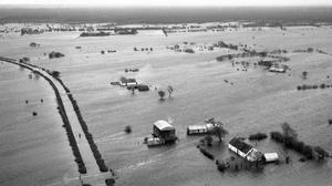 Flood: the scene around the Shannon in the midlands in the mid-1950s. Independent Aerial Photographic Collection