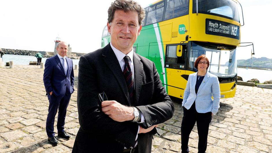 Dublin Bus chief executive Ray Coyne, Minister for Transport Eamon Ryan and National Transport Authority chief executive Anne Graham at the launch of the first phase of Bus Connects in Howth. Picture: Maxwells