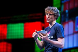 Paddy Cosgrave speaking at the Web Summit. Photo: Kyran O'Brien