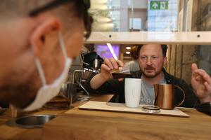 Contactless cup: Frank Kavanagh, co-founder of Cloud Picker Coffee, in Dublin. Photo by Mark Condren