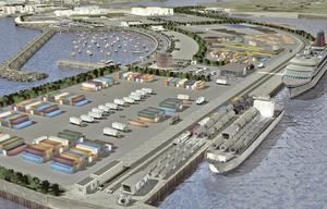 A computer-generated image of the harbour plan, which would give a boost to trade and tourism in the West.