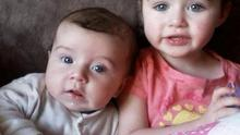 Little Martin Corcoran, who was killed in the crash, with his three-year-old sister Isabelle, who was injured.