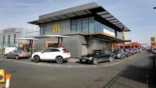 Last orders: Queues around the block at a McDonald's outlet near Dublin Airport. Photo: Frank McGrath