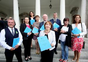 Roadmap: Róisín Shortall TD, centre, chair of the Oireachtas Committee on the Future of Healthcare with committee members at the launch of Sláintecare in 2017
