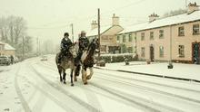 Rathmolyn Village in Co Meath where Meghan Price and Kiera Clarke from Donore GetReady for a Cross Country Chase in the Snow   Pic Seamus Farrelly