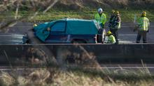 Emergency services workers at the scene of the crash near Watergrasshill, Co Cork. Photo: Michael Mac Sweeney