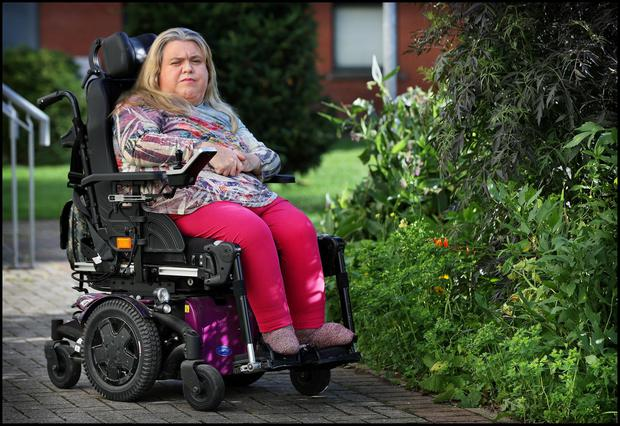 Eileen Daly from Dublin City who is a disabled employer with cerebral palsy who cant get insurance to hire staff to help her live independently. Photo by Steve Humphreys 12th August 2021.