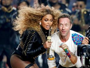 Beyoncé and Chris Martin of Coldplay perform during the half-time show at the NFL's Super Bowl in Santa Clara, California. Photo: Reuters