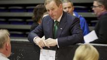 PENSIVE: Enda Kenny at the count centre in Castlebar, Co Mayo, as counting got under way