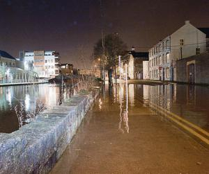 High tidal flooding along Hanover and Wandesford Quays in Cork city. Photo: Daragh McSweeney