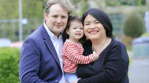 Green Party TD Patrick Costelloe and his fiancee Lord Mayor Hazel Chu with their daughter Alex pictured at the count centre in the RDS in 2019. Photo by: Gerry Mooney