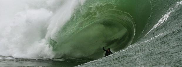A surfer takes on the huge waves at Mullaghmore, Co Sligo, earlier this week.