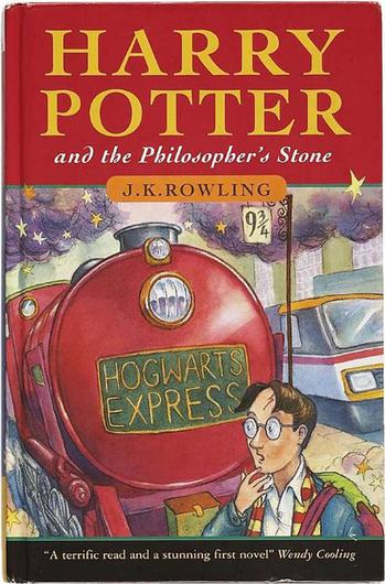 Harry Potter and the Philosopher's Stone by JK Rowling (London, Bloomsbury, 1997) Hardcover first edition first printings of this book have become the Holy Grail for Potter collectors. Only 500 were published and 300 went to libraries. One notable characteristic of a first edition first issue is the crediting of 'Joanne Rowling' and  not the JK who has gone on to make billions from the teenage wizard. Prices vary from $40,000 to $55,000 though a handful of advance proof copies are available from $7,500 to $13,500.