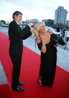 Michael O'Doherty helps Amanda Brunker after an unwelcome seagull swoop at the VIP style awards.