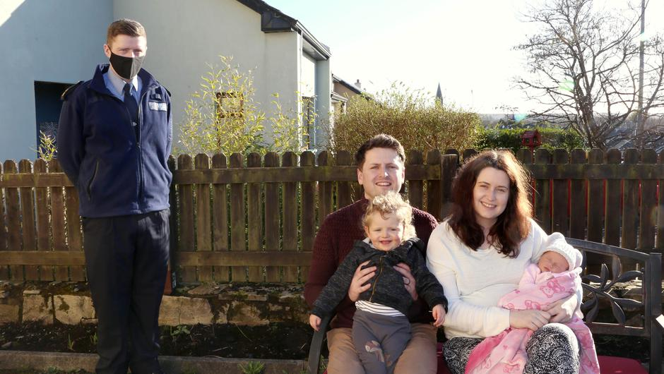 Garda Eric Carney of Clifden garda station with Peter and Kelly Gannon and their baby daughter, Cara, and son Cathal (22 months). Photo: Hany Marzouk