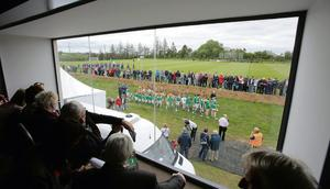 Looking out onto the all weather pitch at the opening of the Staker Wallace GAA Club frrom inside the new clubhouse.  Picture.Press 22