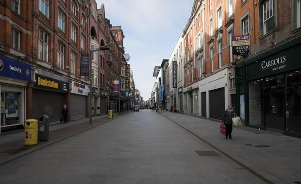 A deserted Henry Street in Dublin as shops and business remain closed