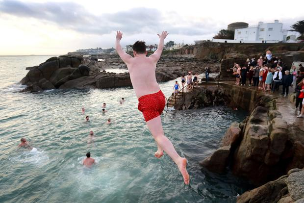Hardy souls jump into sea at Forty Foot