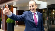 Taoiseach in waiting: Fianna Fáil leader Micheál Martin looks pleased after the vote by the party membership to approve the deal. Photo: Gerry Mooney