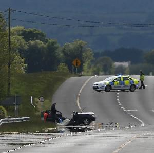 A general view of the N78 after a fatal road accident