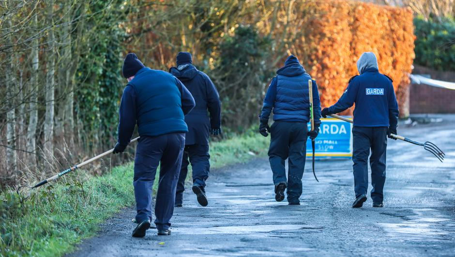 Garda search teams near to the scene where a man died after an assault at Allenwood South in Kildare early on Sunday morning. Photo: Damien Storan