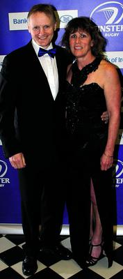 Joe and Kelly Schmidt at the Leinster rugby awards at the Mansion House in Dublin.