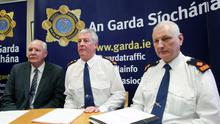 Supt Kevin Dolan, Chief Supt Diarmuid O'Sullivan and Supt John Hand speaking at a press conference in Garda HQ yesterday. Photo: Maxpix