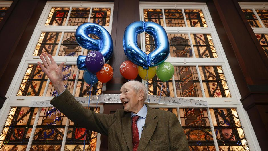 Bewley's in Grafton Street held a special celebration for its most loyal customer, Denis Shields