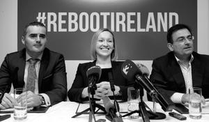 John Leahy, Lucinda Creighton and Eddie Hobbs at the launch of an as yet unnamed political party with the tagline #rebootireland