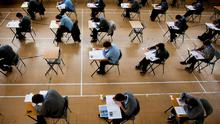 Students in exam hall. Stock picture