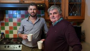 Peter Mangan, who set up over-50 homestay service the Freebird Club, pictured with his dad Owen at their home in Killorglin, Co Kerry. PHOTO: DOMNICK WALSH