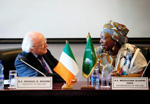 President Michael D Higgins with Dr. Nkosazana Dalmini Zuma, Chairperson of the African Union Commission at the African Union Headquarters in Addis Ababa in Ethiopia  on the fifth day of the President's 22 day official visit to Ethiopia, Malawi and South Africa