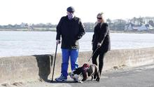 Michael Stone and his wife Karan take walk a dog together following his release from prison