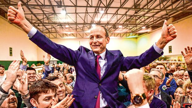 All smiles: Micheál Martin reacts to being elected. Photo: Getty