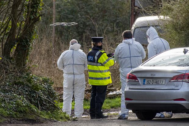 Garda forensics fly a drone near the farm off the Mitchelstown to Mallow Road outside Kildorrery, co. Cork where the bodies of two brothers in their 60s were discovered. Pic Daragh Mc Sweeney/Provision