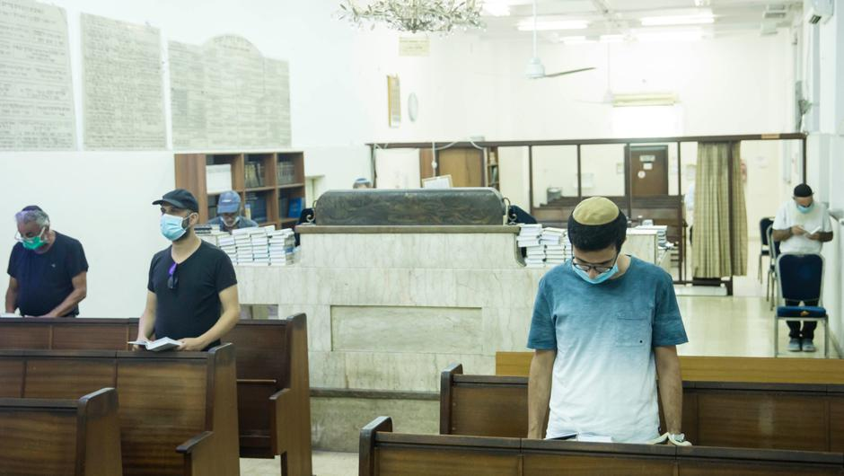 A synagogue  in Tel Aviv, Israel as new restrictions limited the number of worshippers to 19
