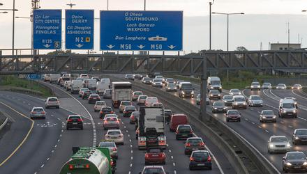 Congestion on Dublin's M50 between Ballymun and Finglas.