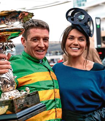 Winning Jockey of of Epatante, Barry Geraghty with his wife, Paula, following victory in the Unibet Champion Hurdle Challenge Trophy at the 2020 Cheltenham Festival. Photo credit: Simon Cooper/PA Wire.