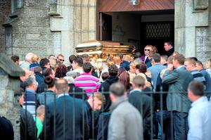 The funeral of Andy Connors in 2014